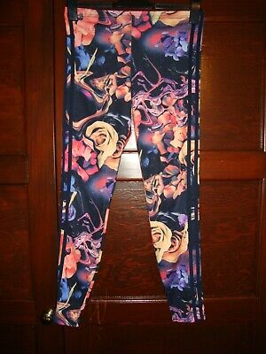 Adidas Blue & Floral Leggings Size 14-15 Years Old - Selling For Charity