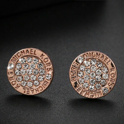 Fashion Elegant Gold Silver Rose Circle Crystal Stud Charm Earrings Jewelry UK