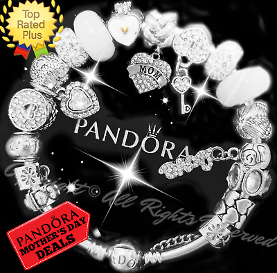 "Authentic Pandora Bracelet Silver White ""MOM"" MOTHER Charms with European Charms"