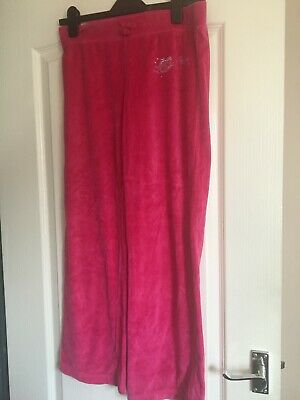 Girls pink velour joggers age 12-13