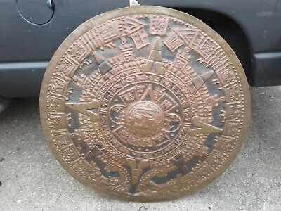 Large 42-in Mayan Aztec Solid Copper Calendar Wall Hanging Plate Mexican