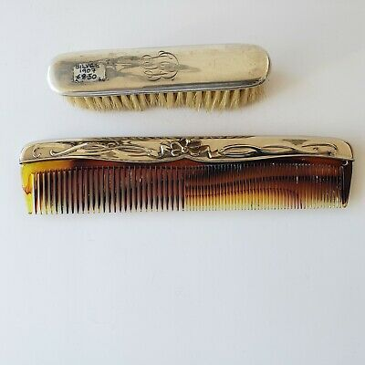 Antique Sterling Silver Clothes Brush & Comb Set