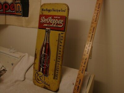 "Antique Dr. Pepper Soda Pop Metal Thermometer 25""  Good For Life When Hungry"