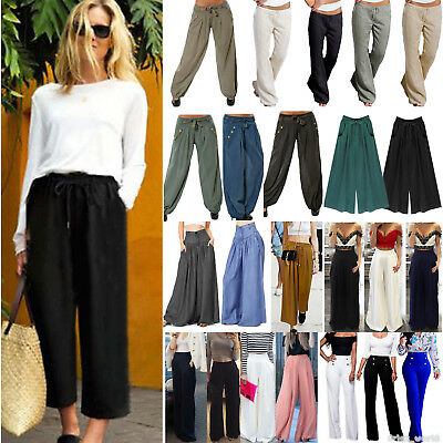 Women's Belted Wide Leg Casual Pants Palazzo Baggy Culottes Baggy Yoga Trousers
