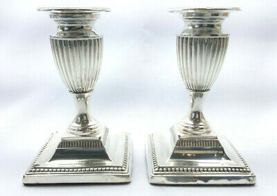 Victorian solid Sterling silver pair of neoclassical urn-shaped candlesticks