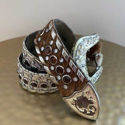Vintage Cowhide Leather Belt Size Small Texas Bling