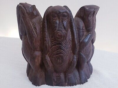 VTG Hand Carved wood 3 monkeys Speak No Evil, See No Evil, & Hear No Evil