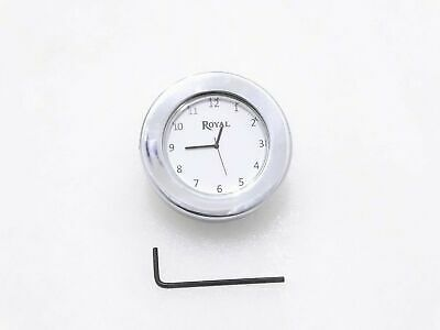 New White Dial Chrome Stem Nut Clock Watch Suitable For Royal Enfield @Cl