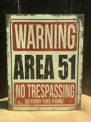 "Vintage Retro Reproduction Area 51 Warning No Trespassing Metal Sign 9/""x12/""  #4"