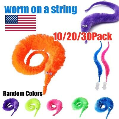 10-30X Magic Worm Twisty Toys Wiggly Fuzzy Carnival Party Favor Worm On A String