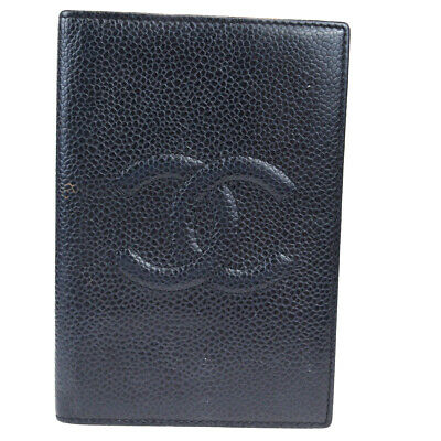 Auth CHANEL CC Agenda Day Planner Notebook Cover Caviar Skin Leather BK 66EZ277