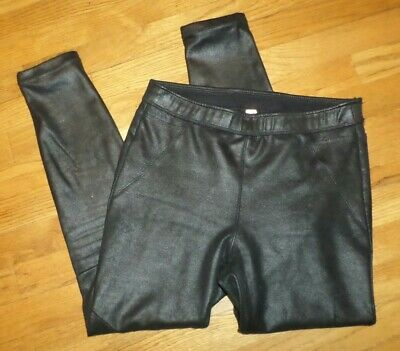 womens FREE PEOPLE black faux suede leggings pants sz 6