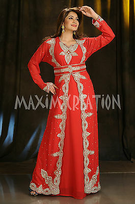 Moroccan Kaftan Hand Embroidered Customized Pakistan Nikah Gown Luxe Kaftan 4392