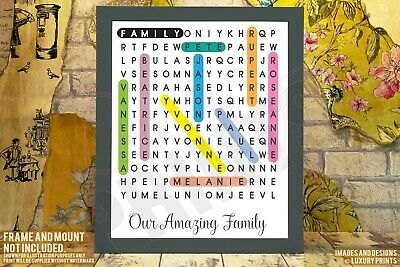 Personalised FAMILY Word Search Love Picture Print Gift Canvas Wall Present