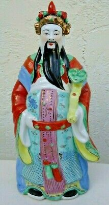 Porcelain Famille Rose Chinese God Of Prosperity & Wealth Fu Lu Shou 14.5""