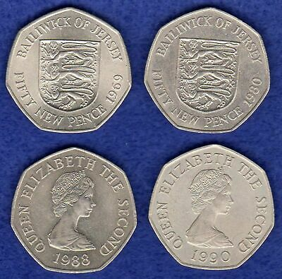 Jersey, 4x 50p Coins, 50 Pence, 1969, 1980, 1988 & 1990 (Ref. t2925)