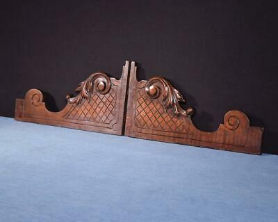 *French Antique Walnut Wood Brackets Salvage Trim Hand Carved Salvage