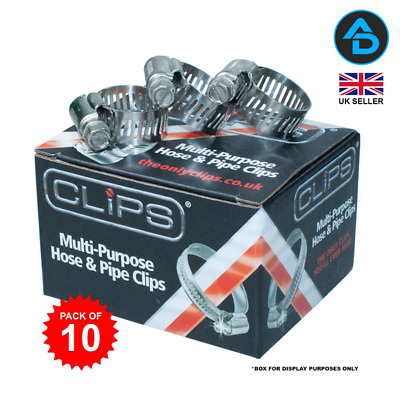 CLIPS Stainless Steel Slotted Hose Clamps (Pack of 10)