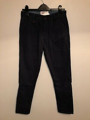 "Criminal Damage Boys Navy Slim Leg Chino Trousers Pants W26"" BNWT New Casual"