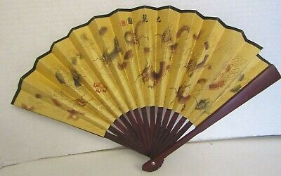 Vintage Hand Painted Silk Oriental Asian Chinese Hand Fan Wood Spokes