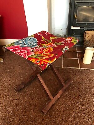 Vintage Wooden Frame Folding Stool Canvas Top Camping Stool Fishing Stool
