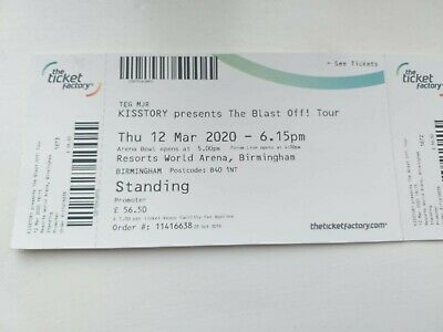 Kisstory Blast Off Tour Tickets x 2 Standing Birmingham Thurs 12th March 12.03