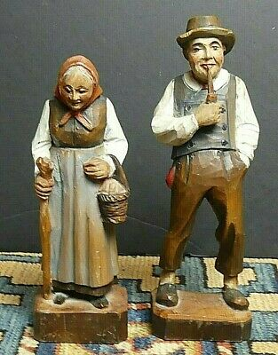 Vintage Folk Art Man Smoking Pipe & Wife Hand Carved Wooden / Painted Austria