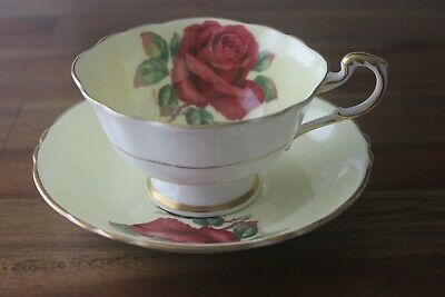 Paragon floating Cabbage Red Rose yellow tea cup teacup saucer Signed R. Johnson