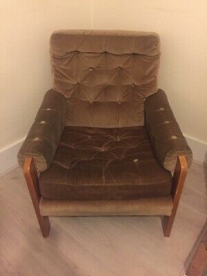 Vintage Retro Mid Century Wooden Frame Button Back Armchair And Stool Old Chair