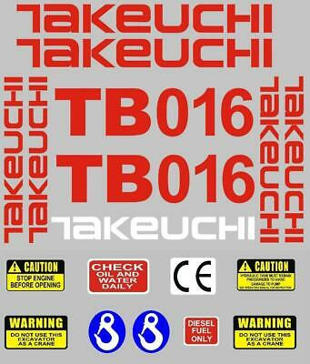 TAKEUCHI TB145 MINI DIGGER COMPLETE DECAL SET WITH SAFETY WARNING SIGNS