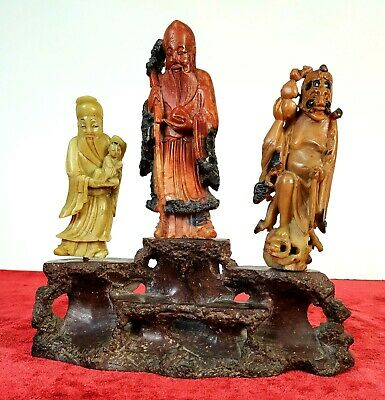 3 Chinese Divinities. Sculpture. Carved Soap Stone . China. Xix Century
