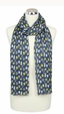Womens Peony London Blue Leaves Design Scarf 100% Modal Washable Mothers Gift