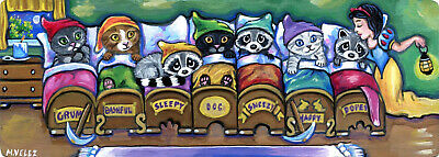 Snow White and Friends Raccoons Cats Fairy Tale Night Double ACEO Painting Print