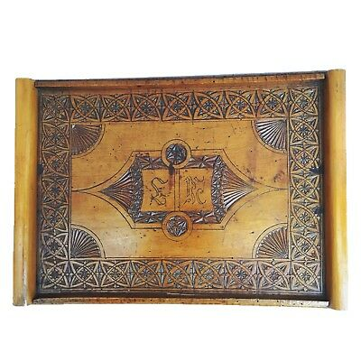 Antique Scandinavian Denmark Hand Carved Tramp Art Tray c. late 19th Century