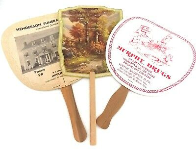 Three Vintage Antique Hand Advertising Fans Paper Wood