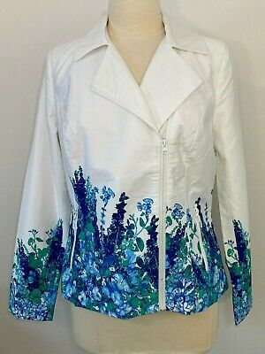 Dennis Basso Floral Print Motorcycle Jacket with Pockets White & Blue Size 10