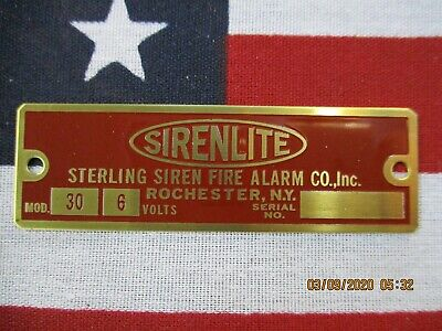 "Sterling ""SIRENLITE"" Model 30 Replacement Brass Badge 6  Volt"