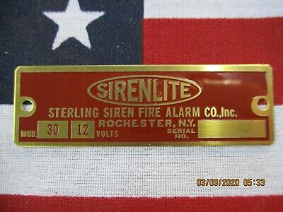 "Sterling Siren ""SIRENLITE"" Model 30 Replacement Brass Badge 12 Volt"