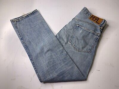 straight leg Selvedge Jeans patch rrl double rl japan  west coast new Distressed