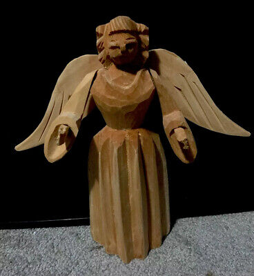 """Hand Carved Wooden Angel 9"""""""