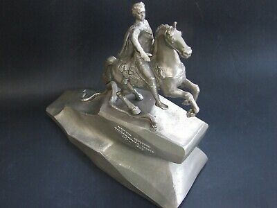 Vintage RUSSIAN PETER THE GREAT Statue Cast Metal Soviet USSR Sculpture Signed