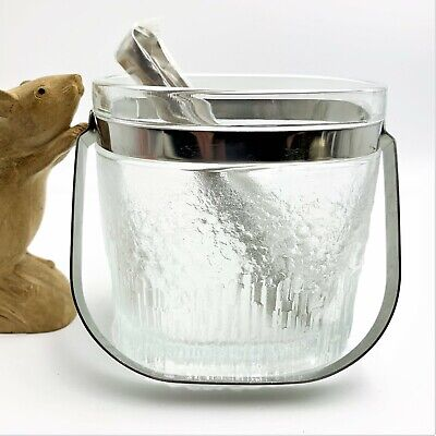NEW Thick Frosted Glass Ice Bucket with Chrome Handle & Tongs, Scandi-Styled
