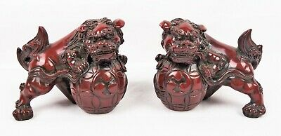 Red Chinese Carving Fengshui Lions Resin Fu Foo Dog Guardion Door Lions Statues
