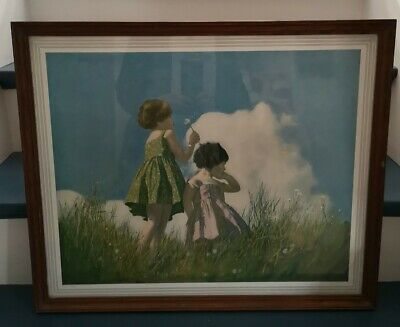30s/40s Art Deco Young Girls In Field. Framed Print