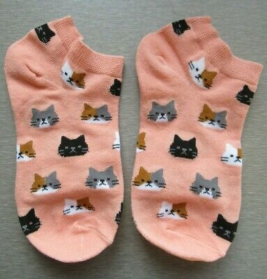 NEW Ladies Girls (1 Pair) Pink Cat Face Trainer Socks Ginger Calico Black White