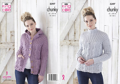 King Cole Ladies Chunky Knitting Pattern Womens Cable Knit Hoodie & Sweater 5397