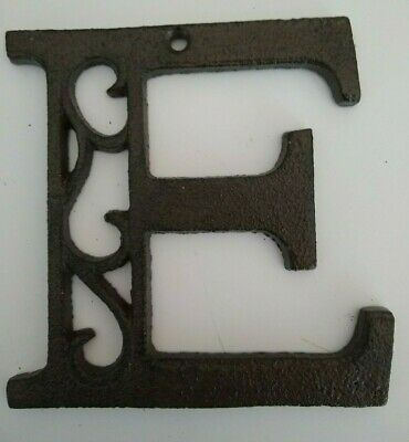 "Cast Iron Letter E  Antique Brown Cast Iron Metal 4.5"" Indoor Outdoor Letters"