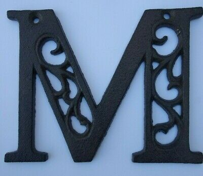 "Alphabet Letter M  Antique Brown Cast Iron Metal Size 4.5"" Indoor Outdoor Letter"