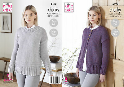 King Cole Ladies Chunky Knitting Pattern Womens Easy Knit Sweater Cardigan 5498