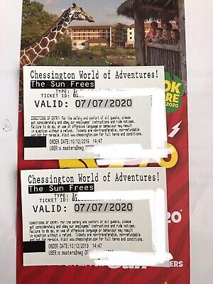 2 X Chessington Tickets 7th July CAN BE USED ANY DAY IN 2020 IF CLOSED ON 7TH!